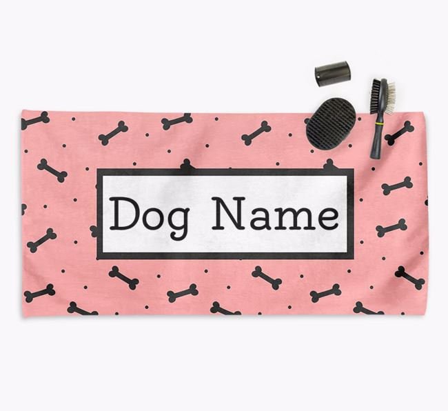 'Bone Pattern' Personalised Dog Towel for your Doodle