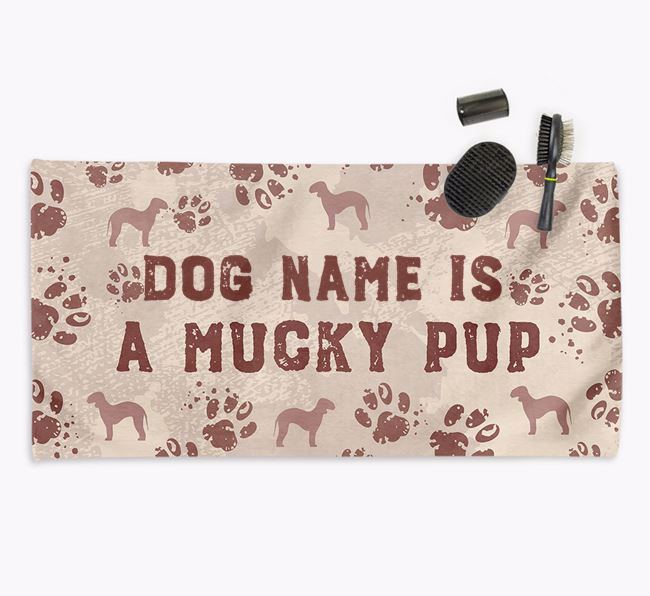 'Mucky Pup' Personalised Towel for your Bedlington