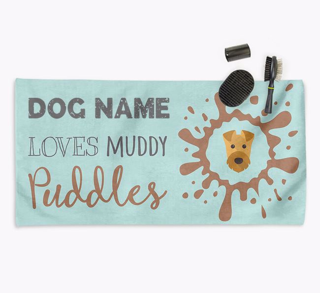 'Muddy Puddles' Personalised Dog Towel for your Airedale