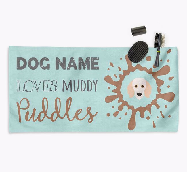 'Muddy Puddles' Personalised Dog Towel for your Doodle
