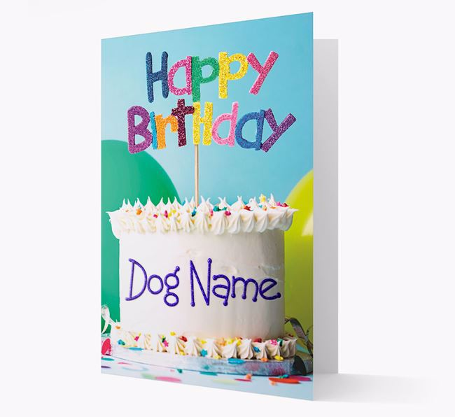 Personalized 'Happy Birthday Cake' Card for your Tibetan Terrier