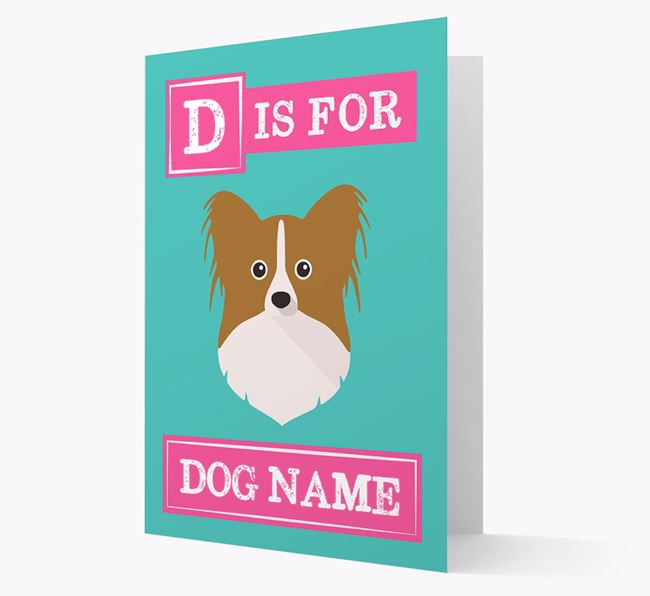'Letter and Name' Card for your Papillon