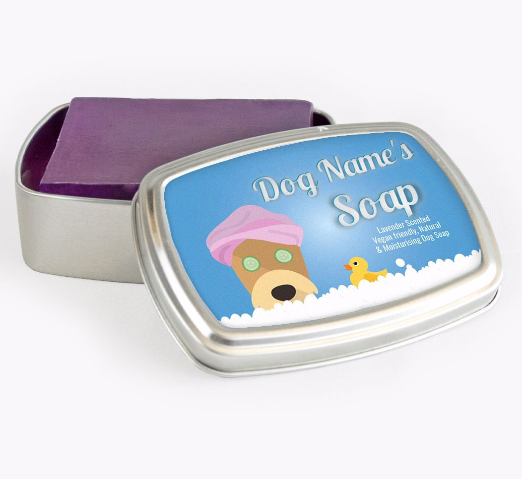 Personalised 'Bath Time' Soap Tin for your Airedale Terrier