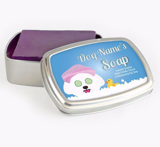 Personalised 'Bath Time' Soap Tin for your Bichon Frise