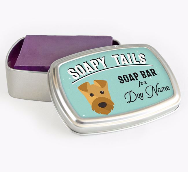 Personalised 'Soapy Tails' Soap Tin for your Airedale Terrier