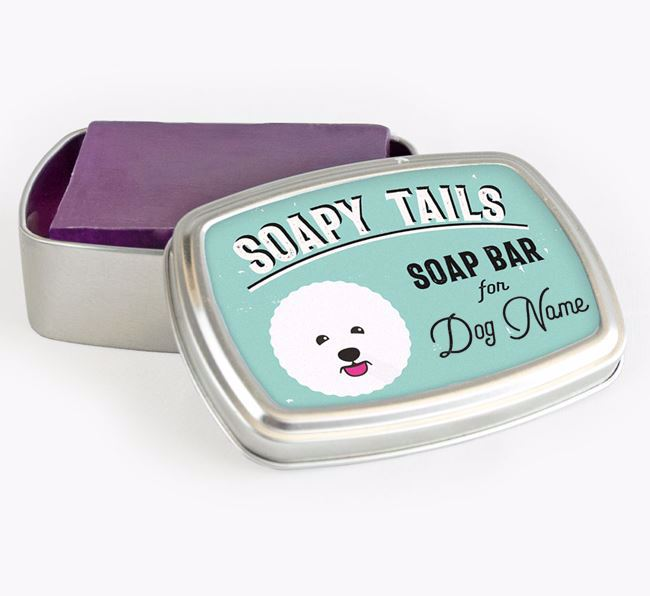 Personalised 'Soapy Tails' Soap Tin for your Bichon Frise