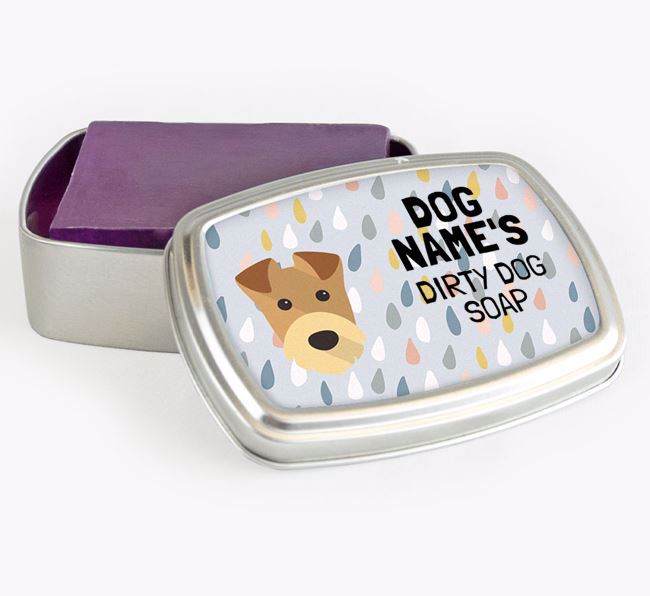 Personalised 'Dirty Dog' Soap Tin for your Airedale Terrier