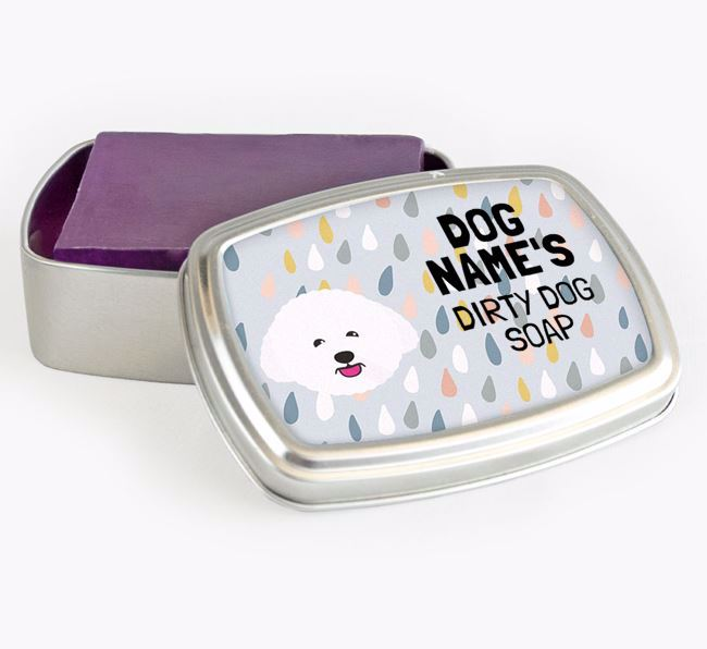 Personalised 'Dirty Dog' Soap Tin for your Bichon Frise