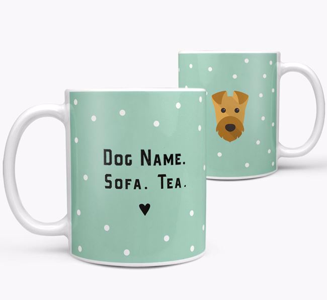 Personalised 'Sofa & Tea' Mug for your Airedale Terrier