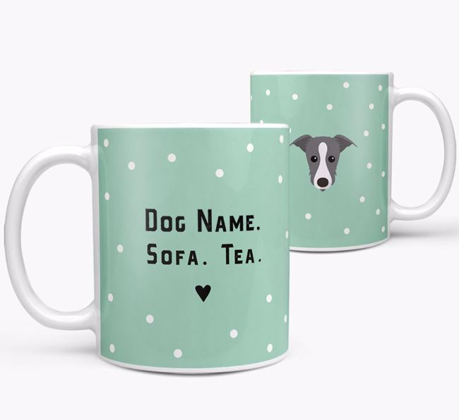 Personalised 'Sofa & Tea' Mug for your Lurcher