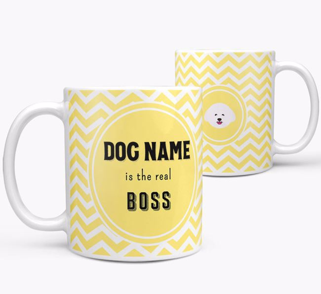 Personalised 'Real Boss' Mug with Bichon Frise Icon