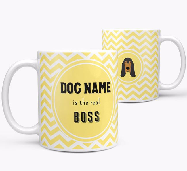 Personalised 'Real Boss' Mug with Bloodhound Icon