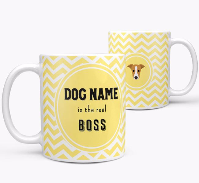 Personalised 'Real Boss' Mug with Lurcher Icon