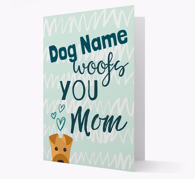 Personalized Airedale Terrier 'woofs you Mum' Card