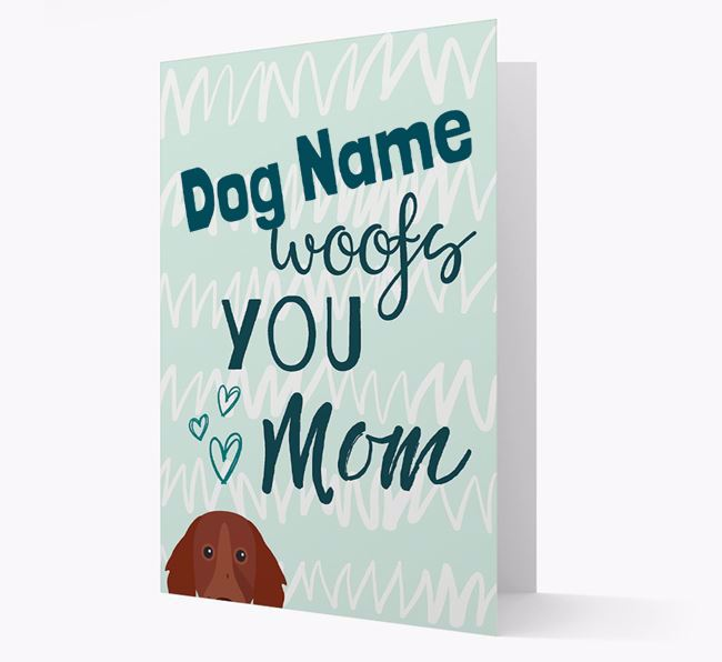 Personalized German Longhaired Pointer 'woofs you Mum' Card