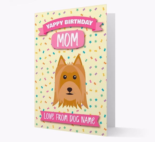 Personalized Card 'Yappy Birthday Mom' with Silky Terrier Icon