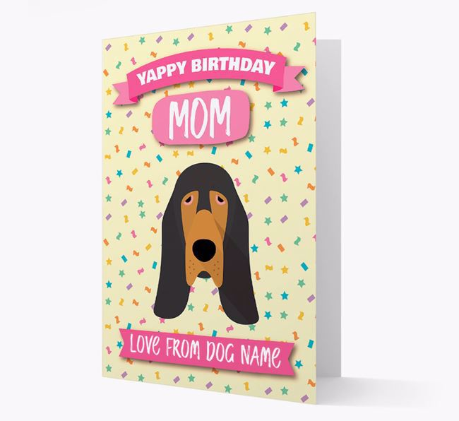 Personalized Card 'Yappy Birthday Mom' with Bloodhound Icon