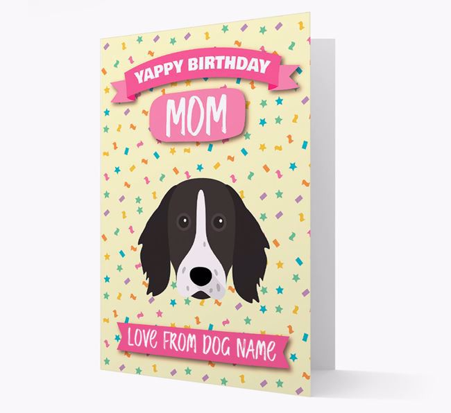 Personalized Card 'Yappy Birthday Mom' with Longhaired Pointer Icon