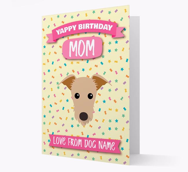 Personalized Card 'Yappy Birthday Mom' with Lurcher Icon