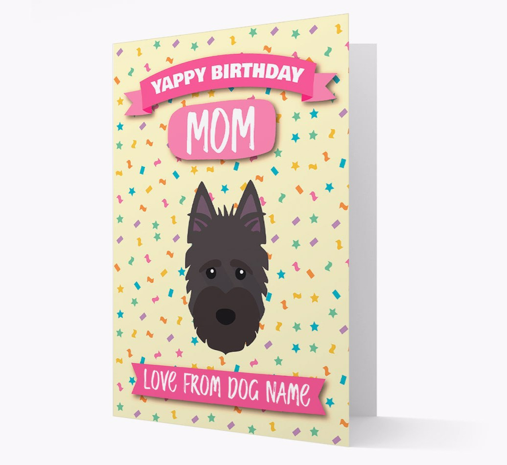 Personalized Card 'Happy Birthday Mom' with Scottish Terrier Icon