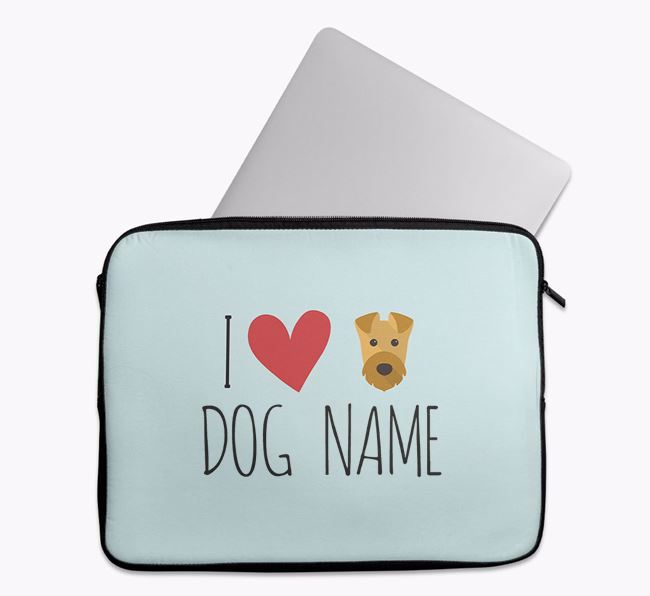 Personalised 'I Heart ' Tech Pouch with Airedale Terrier Icon