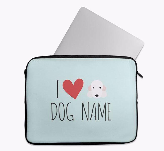 Personalised 'I Heart ' Tech Pouch with Bedlington Terrier Icon