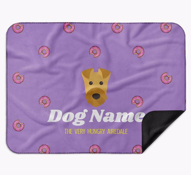 Personalised 'The Very Hungry Airedale Terrier' Blanket with Doughnut Print