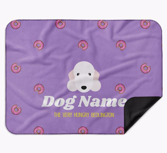 Personalised 'The Very Hungry Bedlington Terrier' Blanket with Doughnut Print