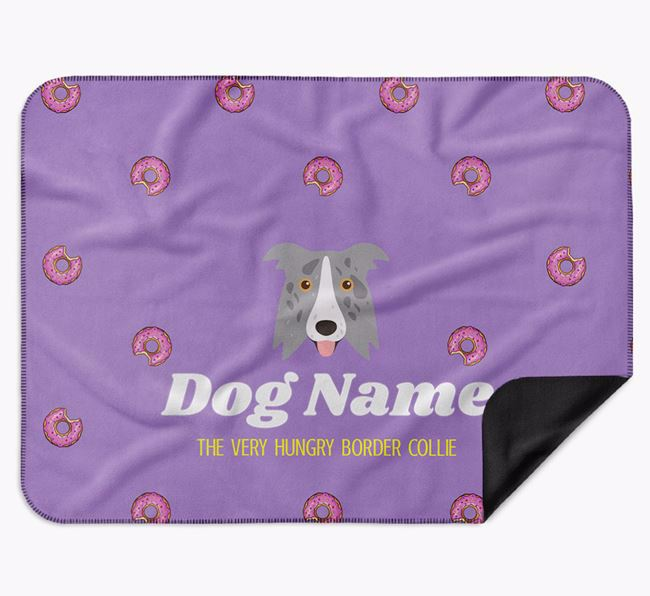 Personalised 'The Very Hungry Border Collie' Blanket with Doughnut Print