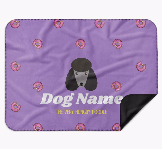 Personalised 'The Very Hungry Poodle' Blanket with Doughnut Print