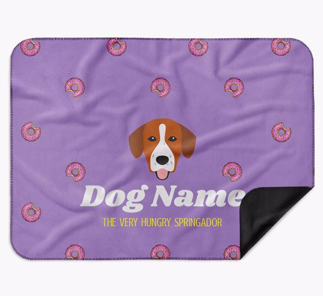 Personalised 'The Very Hungry Springador' Blanket with Doughnut Print