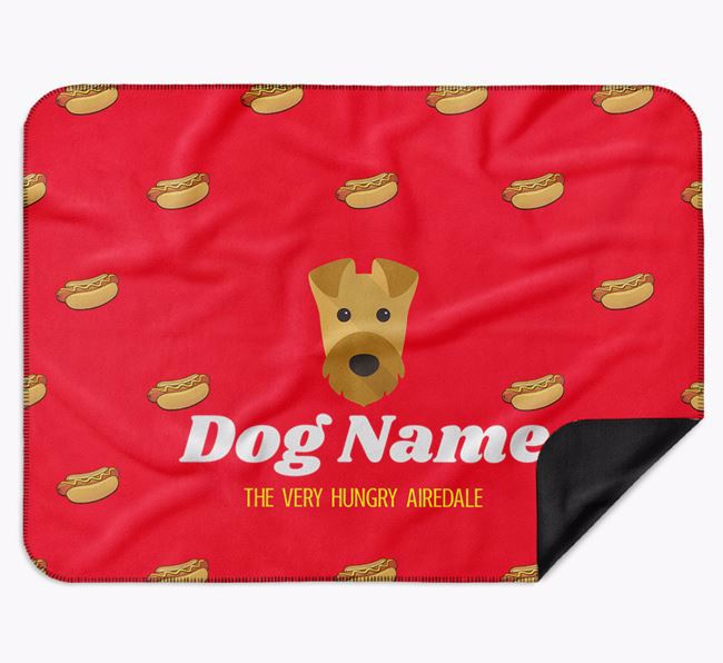 Personalised 'The Very Hungry Airedale Terrier' Blanket with Hot-Dog Print