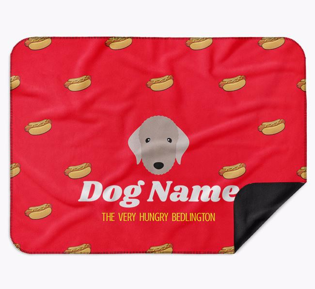 Personalised 'The Very Hungry Bedlington Terrier' Blanket with Hot-Dog Print