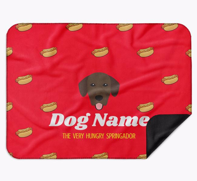 Personalised 'The Very Hungry Springador' Blanket with Hot-Dog Print