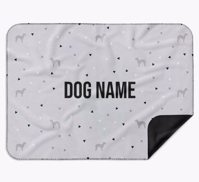 Personalised Triangle Pattern Blanket with Bedlington Terrier Silhouettes