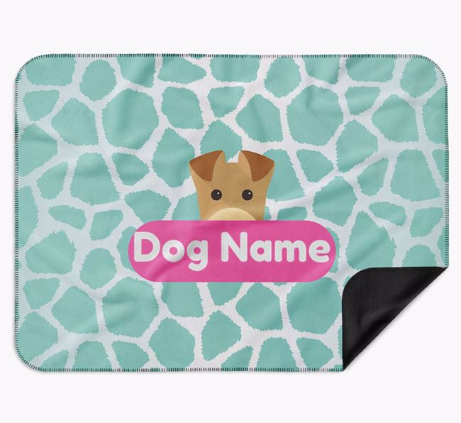 Personalised Giraffe Print Blanket with Airedale Terrier Icon