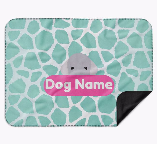 Personalised Giraffe Print Blanket with Bedlington Terrier Icon