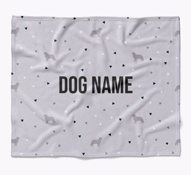Personalized Triangle Pattern Blanket with Hungarian Kuvasz Silhouettes