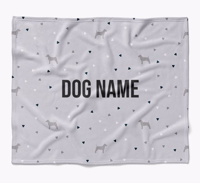 Personalized Triangle Pattern Blanket with Dog Silhouettes