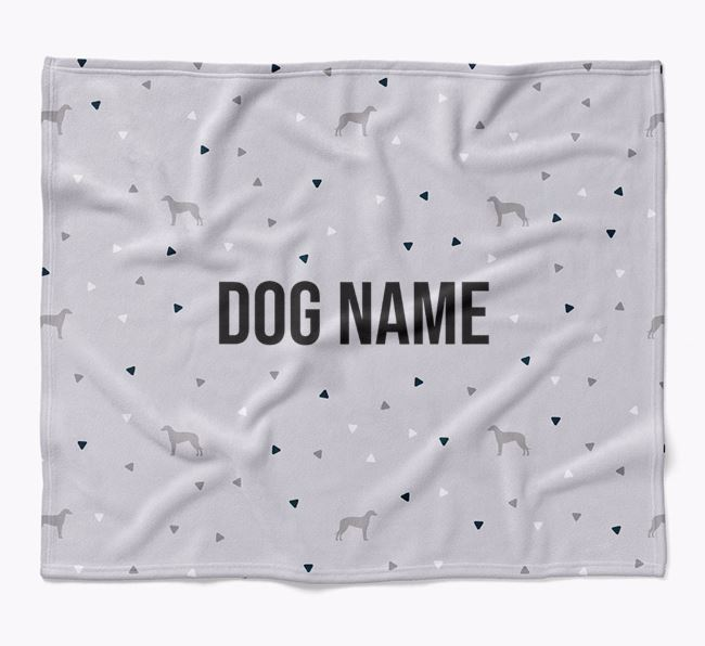 Personalized Triangle Pattern Blanket with Lurcher Silhouettes