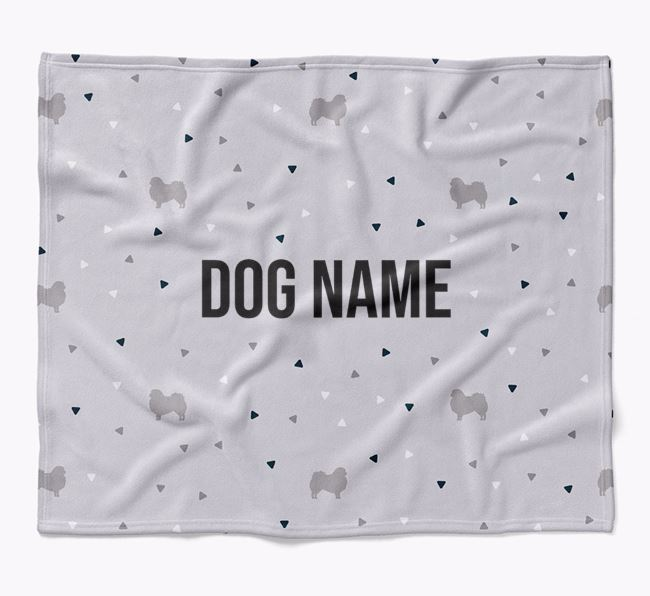 Personalized Triangle Pattern Blanket with Pekingese Silhouettes