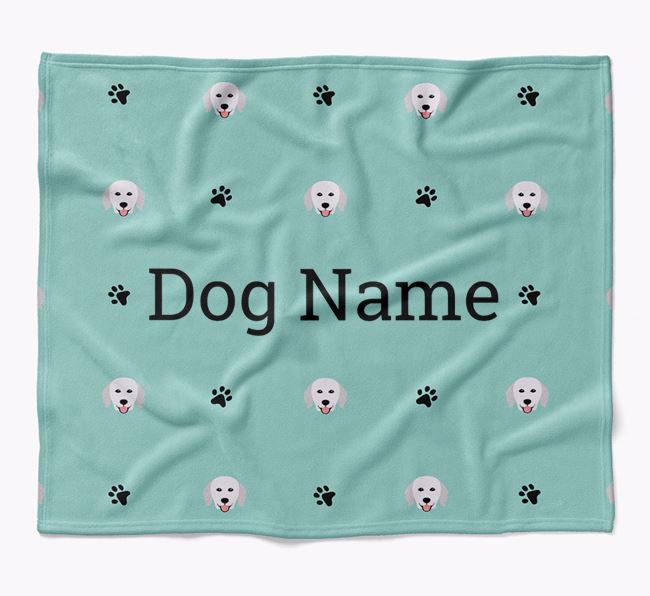 Personalized Blanket with Hungarian Kuvasz Icon Print