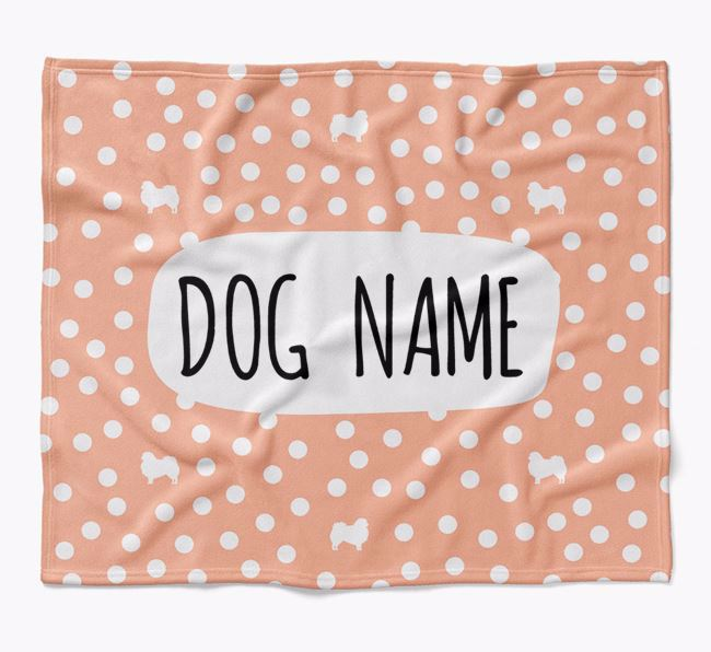 Personalized Spotty Blanket with Pekingese Silhouettes
