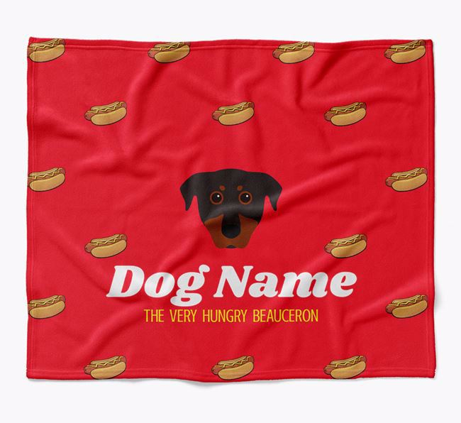 Personalized 'The Very Hungry Beauceron' Blanket with Hot-Dog Print