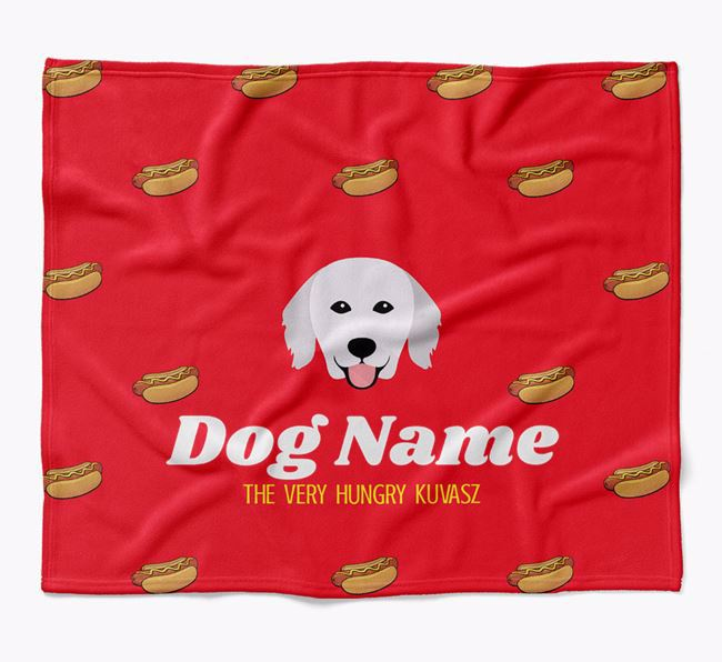 Personalized 'The Very Hungry Hungarian Kuvasz' Blanket with Hot-Dog Print