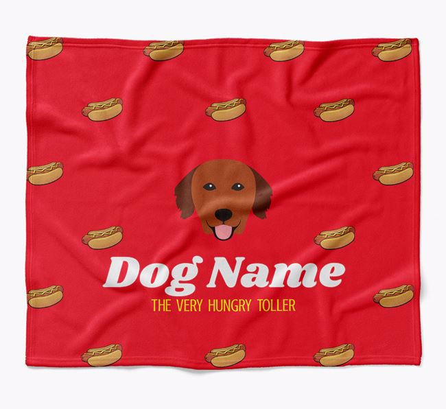 Personalized 'The Very Hungry Nova Scotia Duck Tolling Retriever' Blanket with Hot-Dog Print