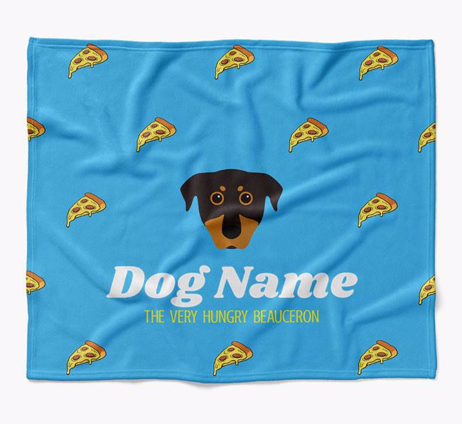 Personalized 'The Very Hungry Beauceron' Blanket with Pizza Print