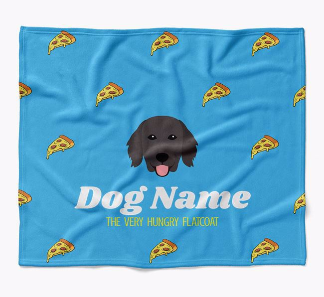 Personalized 'The Very Hungry Flat-Coated Retriever' Blanket with Pizza Print