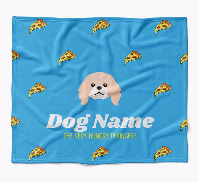 Personalized 'The Very Hungry Pekingese' Blanket with Pizza Print