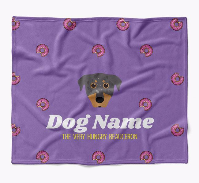 Personalized 'The Very Hungry Beauceron' Blanket with Doughnut Print